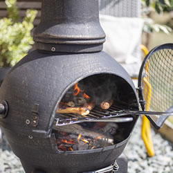 Extra image of Sierra Bronze Large Cast Iron Chiminea with Grill by La Hacienda