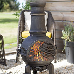 Extra image of Sierra Bronze Medium Cast Iron Chimenea Fireplace with Grill