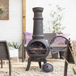 Extra image of Sierra Bronze Extra Large Cast Iron Chiminea Fireplace with Grill