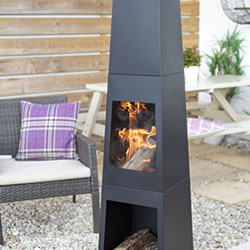 Small Image of La hacienda Malmo Steel 150cm Chiminea Patio Heater with Wood Store