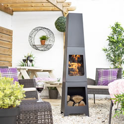 Extra image of La hacienda Malmo Steel 150cm Chiminea Patio Heater with Wood Store