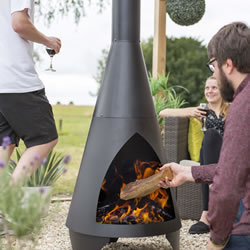 Extra image of Colorado Black Extra Large Steel Chiminea by La Hacienda