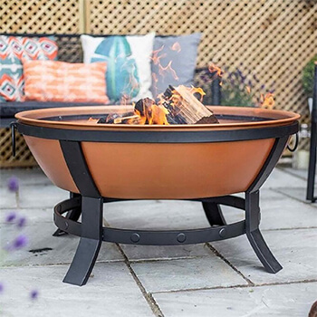 Image of La Hacienda Katori Large Deep Bowl Firepit in Terracotta