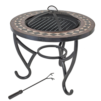Image of La Hacienda Ithaca Blue & Cream Tiled Firepit with Grill