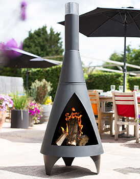 Image of Colorado Black Extra Large Steel Chiminea by La Hacienda