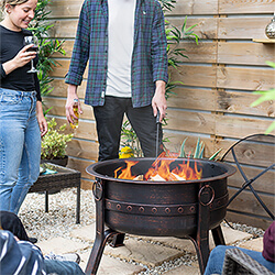 Extra image of La Hacienda Brava Large Deep Bowl Firepit in Bronze