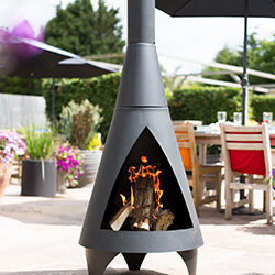 Small Image of Colorado Black Extra Large Steel Chiminea by La Hacienda
