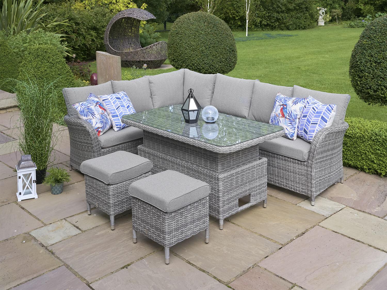 Lg Monaco Stone Rectangular Corner Sofa Dining Modular With Adjust Table Pebble 163 1299