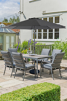 Image of LG Milano 6 Seater Rectangular Set in Graphite / Anthracite