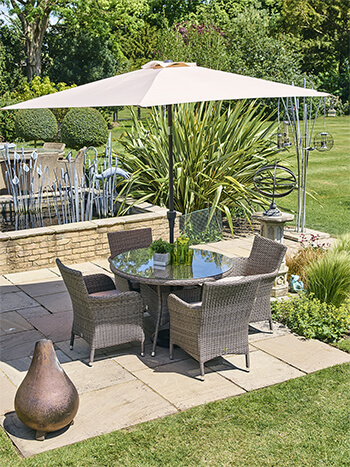 Image of LG Monaco Oak 4 Seat Dining Set with 2.2m Parasol in Sepia / Beige
