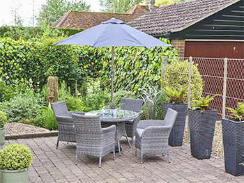 Image of LG Monaco Stone 4 Seat Dining Set with 2.2m Parasol in Pebble / Ash