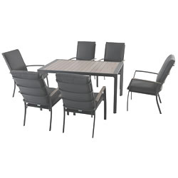 Extra image of LG Milano 6 Seater Rectangular Set in Graphite / Anthracite