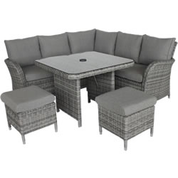 Extra image of LG Monaco Stone Compact Dining Modular Corner Sofa in Pebble / Ash Grey