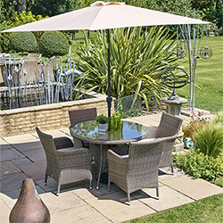 Small Image of LG Monaco Oak 4 Seat Dining Set with 2.2m Parasol in Sepia / Beige