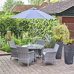 Small Image of LG Monaco Stone 4 Seat Dining Set with 2.2m Parasol in Pebble / Ash