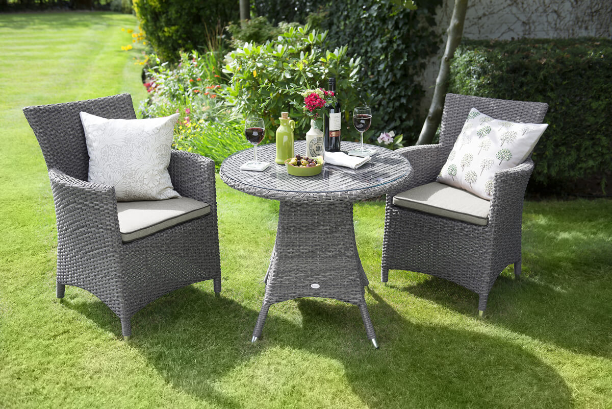 Hartman madison slate stone weave garden bistro set 297 for Gardening 4 less reviews