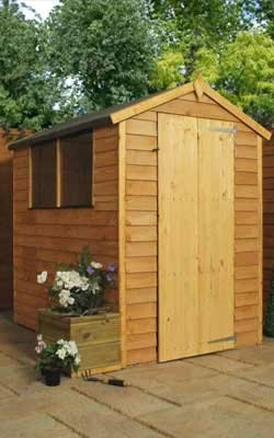 Image of 6 x 4 Overlap Single Door Apex Wooden Garden Shed