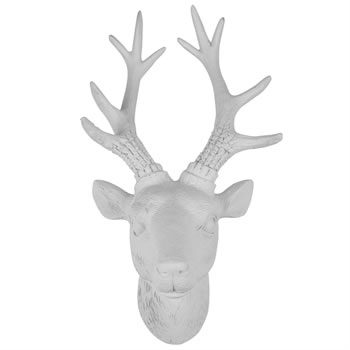 Image of 30cm White Polyresin Wall-mountable Stag's Head Ornament