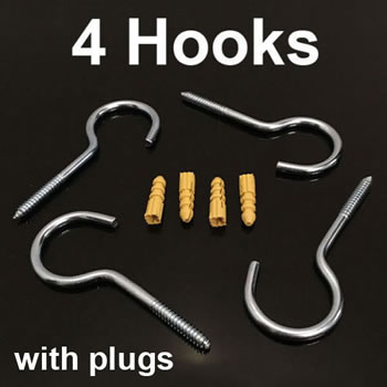 Image of 4x 10cm Large Heavy Duty Screw Hooks