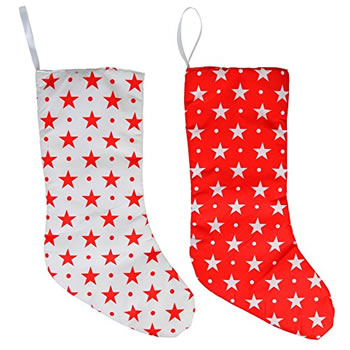 Image of Pair of Red & White Star Fabric 43cm LED Light Up Christmas Stocking
