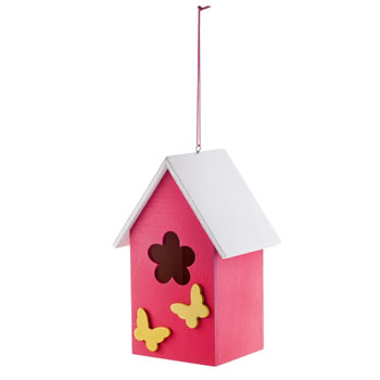 Image of Hanging Painted Pink Wooden Bird House with Butterflies