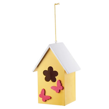 Image of Hanging Painted Yellow Wooden Bird House with Butterflies