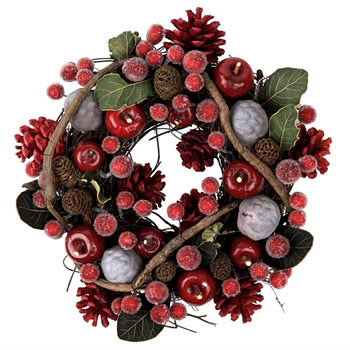 Image of Seasonal Red & Green Leaved Berry & Pine Cone Christmas Wreath