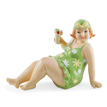 Image of Seaside 'Fat Lady' Figurine Ornament in Green for Home and Bathroom