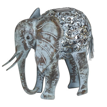 Image of Metal Silhouette Elephant - Solar Powered