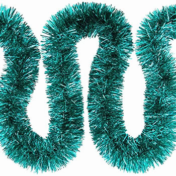 Image of 3 x 2m (6m) Turquoise Fine Cut 7.5cm Christmas Tree Tinsel