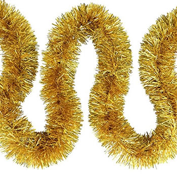 Image of 3 x 2m (6m) Gold Fine Cut 7.5cm Christmas Tree Tinsel
