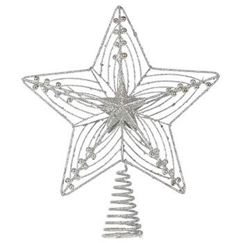 Image of Large 30cm Silver Glitter Wire Christmas Tree Topper Decoration