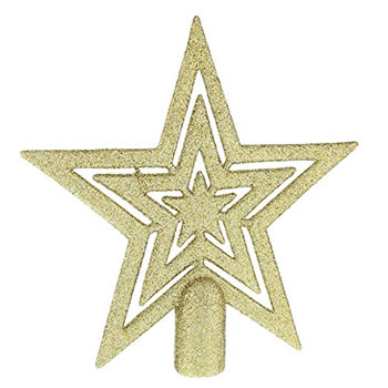 Image of 17cm Champagne Gold Glitter Star Christmas Tree Topper Decoration