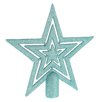 Image of 17cm Ice Blue Glitter Star Christmas Tree Topper Decoration