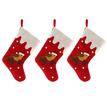 Image of 3 x Large 39cm Red Fabric & Robin Christmas Stocking