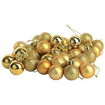 Image of 36pcs 3cm Shatterproof Gold Christmas Tree Mini Bauble Decorations