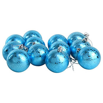 Image of 12pcs 6cm Shatterproof Ice Blue Foil Christmas Tree Bauble Decorations