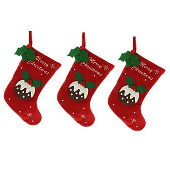 Image of 3 x Large 39cm Red Fleece Fabric Christmas Pudding Stocking