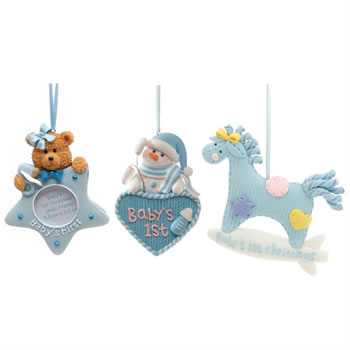 Image of 3pc Set of Baby Boy's 1st Christmas Tree Ornaments