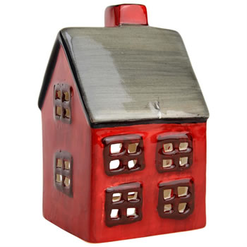 Image of Red Ceramic Christmas Tealight Candle Holders - Church or House (House)