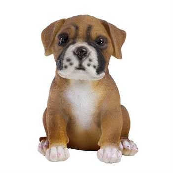 Image of Realistic Polyresin 15cm Sitting Boxer Puppy Dog Animal Garden Ornament