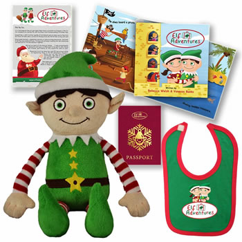 Image of Elf Adventures Boy Elf Soft Toy Baby & Toddler Set - Story Book, Letter from Santa for Elf on the Shelf, Baby's 1st Christmas
