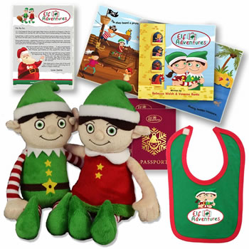 Image of Elf Adventures Boy & Girl Elf Soft Toy Baby & Toddler Set - Story Book, Letter from Santa for Elf on the Shelf, Baby's 1st Christmas