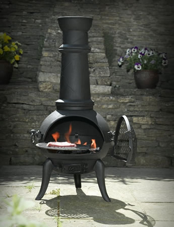 Image of Black Cast Iron/steel Mix 105cm Chimenea Chiminea With Swing Out Grill For Bbq