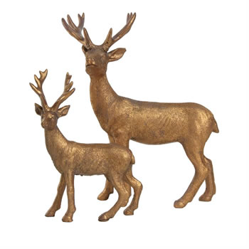 Image of Set of 2 Copper Polyresin Standing Stag / Reindeer Christmas Ornaments