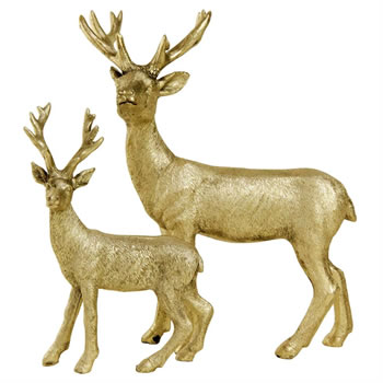 Image of 15cm Gold Polyresin Standing Stag / Reindeer Christmas Ornament