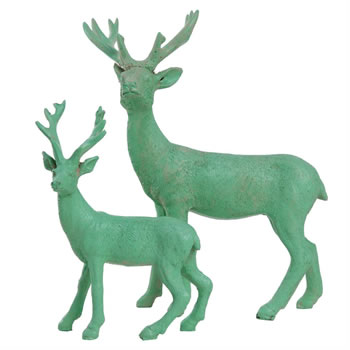 Image of 15cm Mint Green Polyresin Standing Stag Christmas Ornament