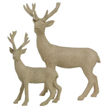 Image of Set of 2 Beige Polyresin Standing Stag Christmas Ornaments