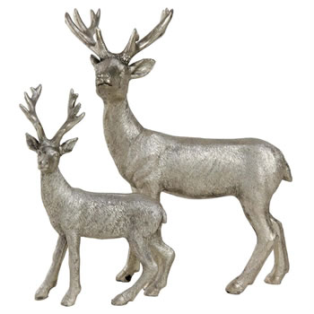 Image of 15cm Silver Polyresin Standing Stag Christmas Ornament