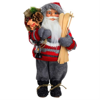 Image of Large 46cm Free-standing Traditional Father Christmas St. Nicholas Plush Statue Decoration